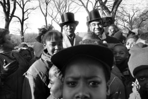 Duke Ellington statue unveiling, Mayor Dinkins, Bobby Short, Fifth Ave. and 110th Street, 1993