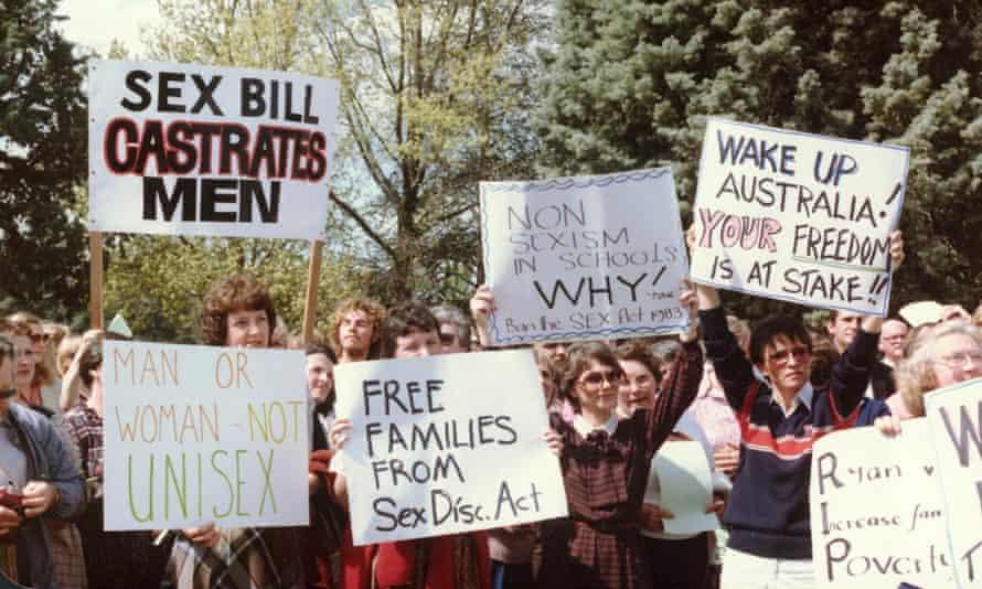 Protesters against Australia's Sex Discrimination Act