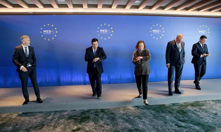 (L-R) Spanish interior minister Fernando Grande-Marlaska Gomez, Greek minister of migration and asylum Notis Mitarachi, Italian interior minister Luciana Lamorgese, Cypriot interior minister Nikos Nouris and Maltese minister for home affairs Byron Camilleri at a Med 5 meeting on Saturday.