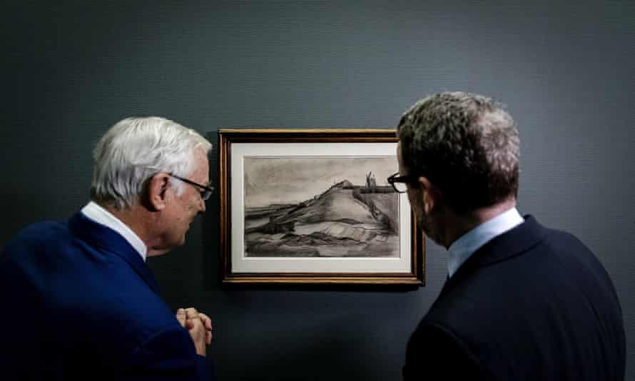 A drawing of Van Gogh's The Hill of Montmartre with Stone Quarry is unveiled at the Singer Museum in Laren, the Netherlands.