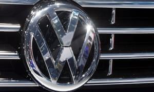 The logo of Volkswagen at a car is photographed during the Car Show in Frankfurt, Germany.