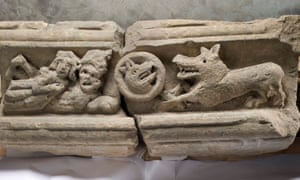 A limestone frieze from the infirmary hall at Rievaulx Abbey