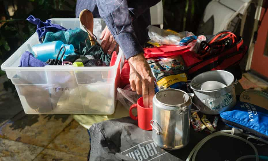 Planetary science professor Roland Burgmann sorts through camping gear at his home in Berkeley, California, on 11 July 2019.