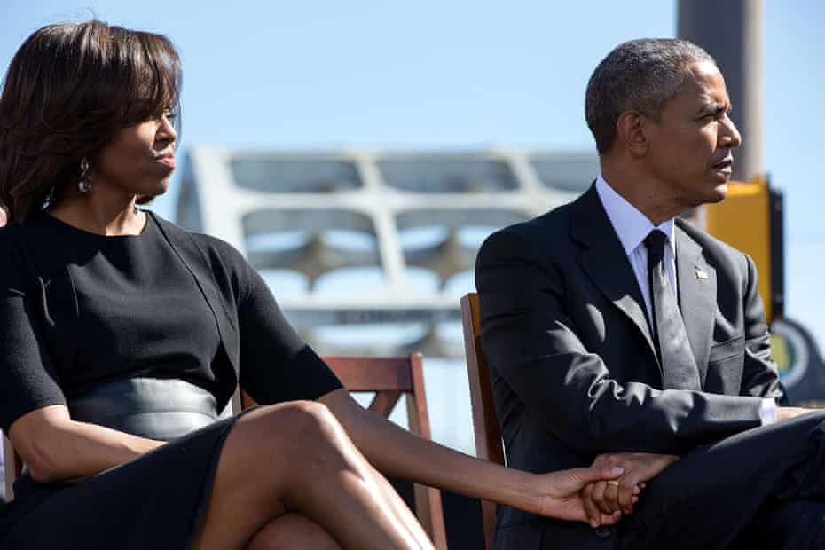 The Obamas' loving relationship is a very important part of their global popularity and this moment of private tenderness, taken by Souza during a public appearance captures it. They are sharing their feelings as they mark the 50th anniversary of the Selma to Montgomery civil rights marches.