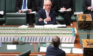 Malcolm Turnbull talks to Bill Shorten during question time