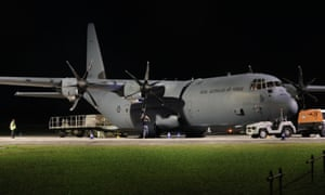 A RAAF Hercules aircraft flown in from Darwin to Christmas Island.