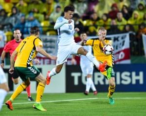Dele Alli of England earns a penalty kick