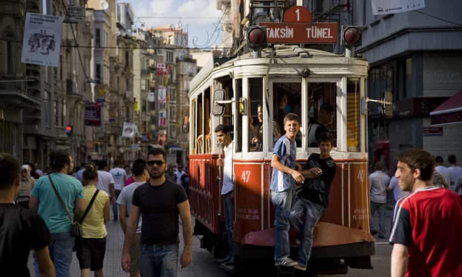 The tram on Istiklal Caddesi (Independence Ave), Istanbul.