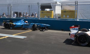 Pierre Gasly crosses the line after crashing