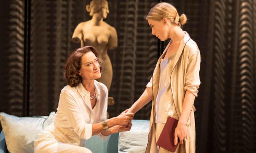 Haydn Gwynne as Volumnia and Hannah Morrish as Virgilia in the Royal Shakespeare Company's 2017 production of Coriolanus.