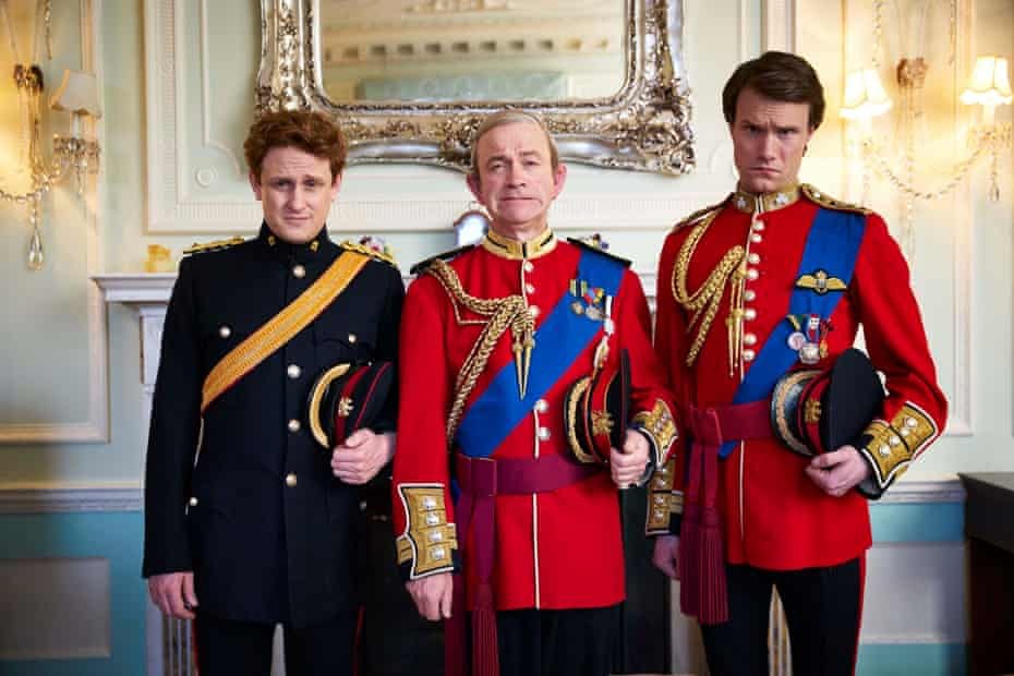 Harry (Richard Goulding), Charlies (Harry Enfield) and Wills (Hugh Skinner) in The Windsors: Royal Wedding Special.