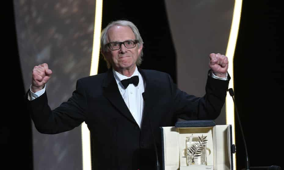 Ken Loach celebrates after being awarded the Palme d'Or for I, Daniel Blake