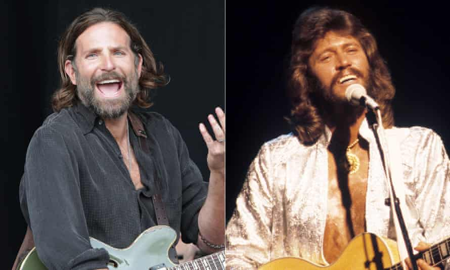 No time to talk ... Bradley Cooper, left, and Barry Gibb.