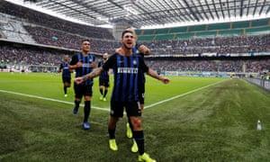 Inter's Matteo Politano celebrates scoring his side's second goal.
