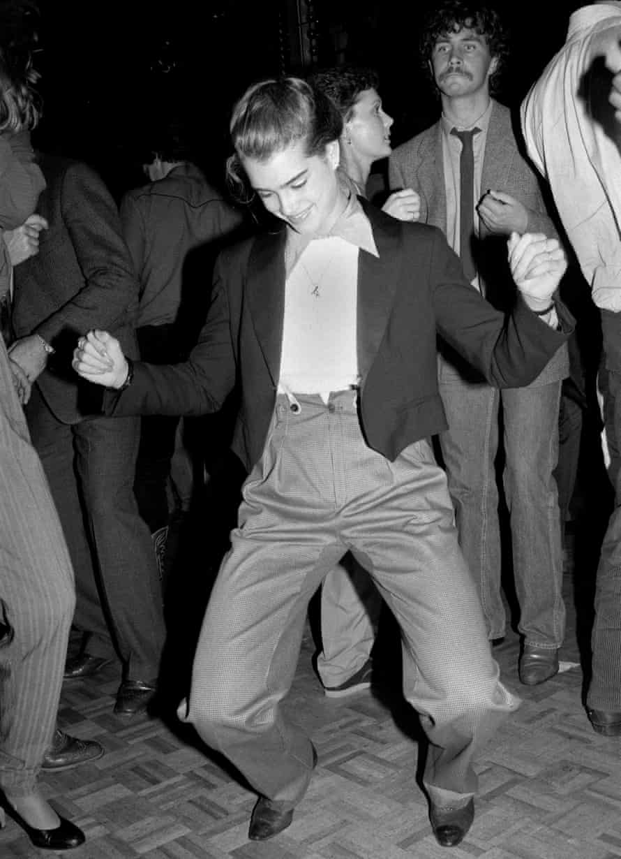 Actor Brooke Shields dancing at an Andy Warhol book launch at Studio 54 in December 1979