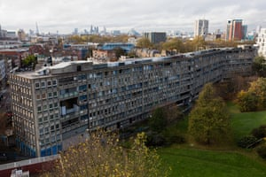The Robin Hood Gardens estate seen with the City of London as a backdrop from the series Lived Brutalism: photographs of residents of the Robin Hood Gardens housing estate by photographer Kois Miah