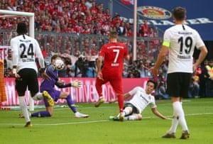 Bayern Munich's Franck Ribery scores their fourth goal.
