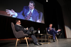 Nigel Farage on stage with publisher Damien Costa in 2018