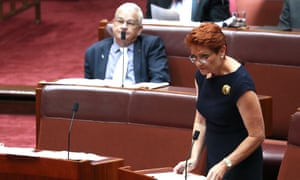 Pauline Hanson and Brian Burston in the Senate chamber on Thursday