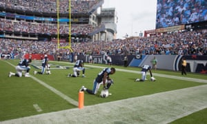 Seattle Seahawks at Tennessee Titans: The colours were presented to an empty bench as both teams stayed in the locker rooms during the singing of the national anthem and then some of the Tennessee Titans went to the end zone before their game.