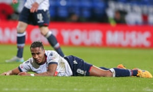 Bolton Wanderers midfielder Neil Danns lies on the floor during the 1-1 draw with Brentford.