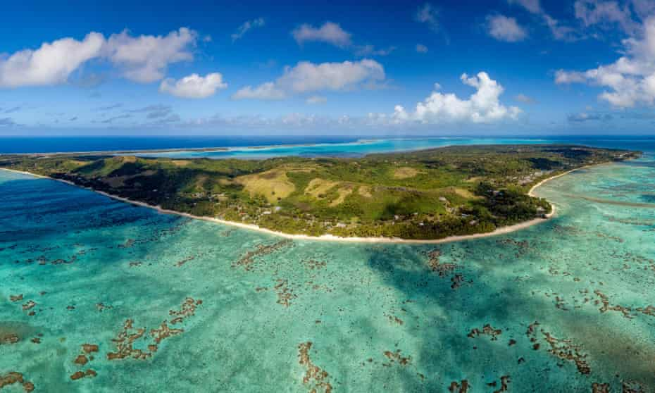 Aitutaki lagoon in Polynesia.
