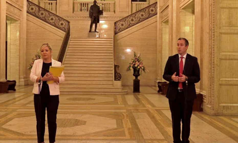 Northern Ireland's first minister Paul Givan (DUP) and deputy first minister Michelle O'Neill (Sinn Féin) at a press conference at Stormont, last month.