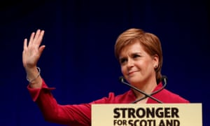 Nicola Sturgeon gestures during her speech at the SNP autumn conference in Aberdeen.