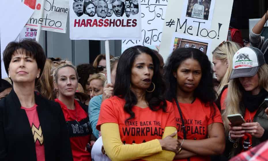Demonstrators participate in the #MeToo Survivors' March in Los Angeles. The protest was organized by Tarana Burke, who created the viral hashtag #MeToo.