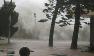 Waves hit the shore at Heng Fa Chuen in Hong Kong