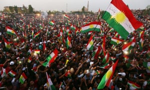 A pro-independence rally in Erbil, the capital of the autonomous Kurdish region of northern Iraq.