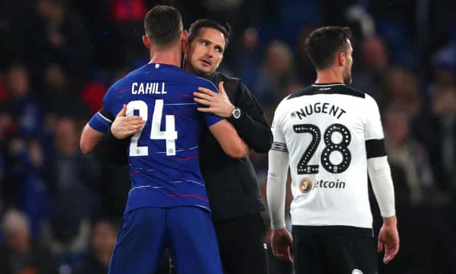 Frank Lampard of Derby County embraces Gary Cahill after the Carabao Cup tie.