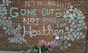 A memorial for Heather Heyer in Charlotesville, Virginia, on the street where she was killed on 12 August 2017.