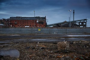The derelict Ice Factory at the entrance to the port in Grimsby