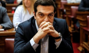 Greek prime minister Alexis Tsipras before a Syriza parliamentary group meeting.