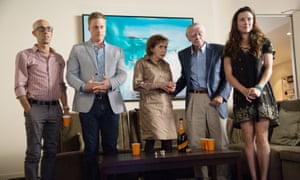 Mitch Silpa, Alan Tudyk, Joyce Hiller Piven, Jack Wallace and Linda Cardellini in Welcome to Me.