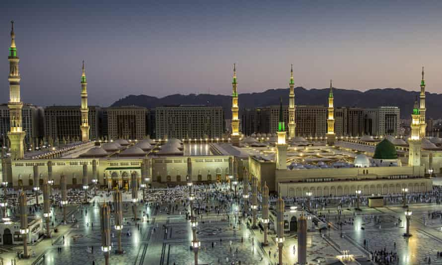 Medina's al-Nabawi mosque, home to the tomb of Prophet Muhammad, draws pilgrims to the holy city. Police 35 were killed in a bus crash on 16 October.