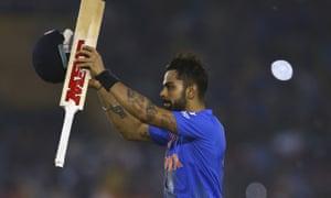 Virat Kohli celebrates victory during the ICC WT20 India Group 2 match between India and Australia.