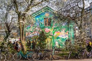 Graffiti covered walls of Christiania in Copenhagen, Denmark