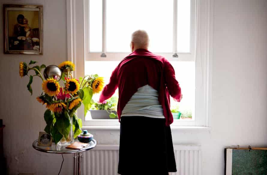 Celine Marchbank's mother at a window