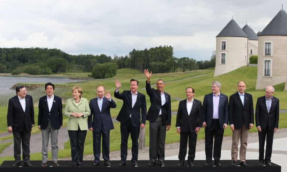 David Cameron and fellow leaders including Angela Merkel and Vladimir Putin at the G8 in 2013.