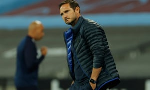 Chelsea manager Frank Lampard scowls on the touchline.