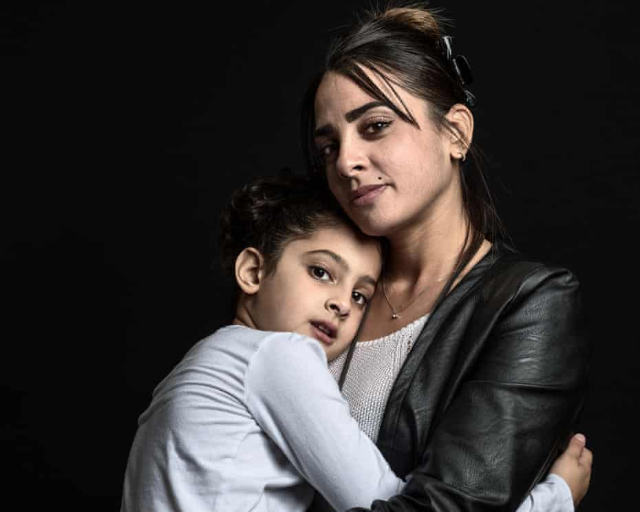 Hager Ben Aouissi (36) with Kenza (6) Survivor of Nice, Promenade des Anglais truck attack, Nice, France
