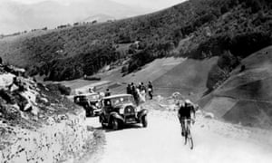 Spanish cyclist Vicente Trueba climbs Col du Tourmalet on his way to the first King of the Mountains prize during the 1933 Tour de France.