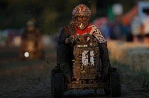 """Five times winners and champions Northerners Kick Grass took the lead from the first corner and held it all night. Pictured is one of their drivers, Mark Rostron. Their mower would eventually brake down in dramatic circumstances just 20 minutes from the end, with Rostron later saying: """"It's absolutely gut-wrenching. To be that close to the finish – words can't describe it."""""""