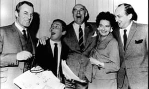 Polari spoken here: Hugh Paddick (far left) and Kenneth Williams (second left) as Sandy and Julian with the rest of the Round the Horne cast.