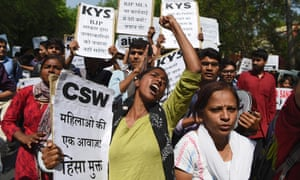 Activists in Delhi protest at the authorities' response to the alleged rape cases.