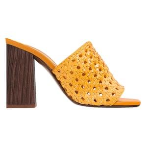light brown braided high heel mules