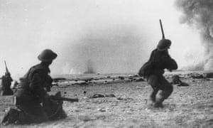 British soldiers fight a rearguard action during the evacuation at Dunkirk.
