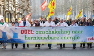 A demonstration against the nuclear power plants of Doel and Tihange, in Antwerp, Belgium, on 12 March 2016.
